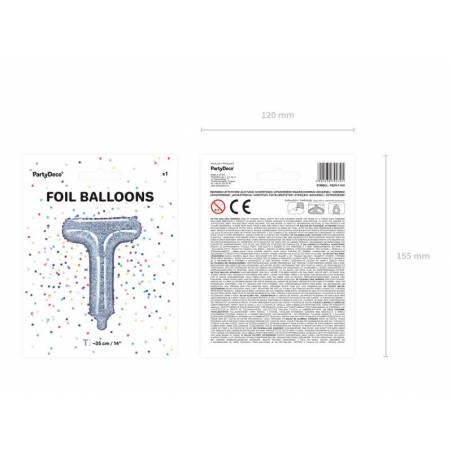 Ballon en aluminium lettre T 35cm holographique
