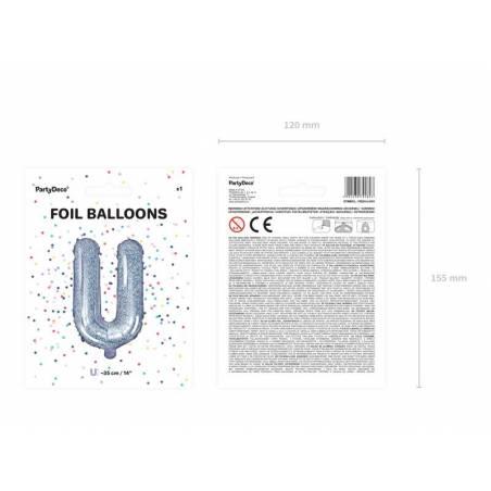 Ballon Feuille Lettre U 35cm holographique