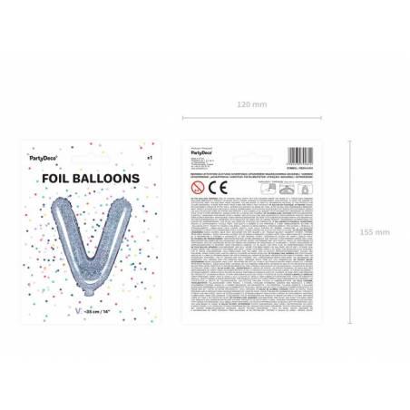 Ballon en aluminium lettre V 35cm holographique