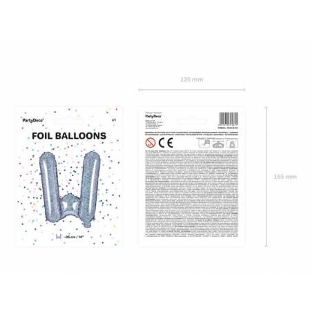 Feuille Ballons Lettre W 35cm holographique