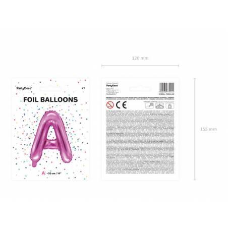 Ballon en aluminium lettre A 35cm rose foncé