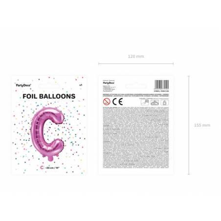 Ballon en aluminium lettre C 35cm rose foncé