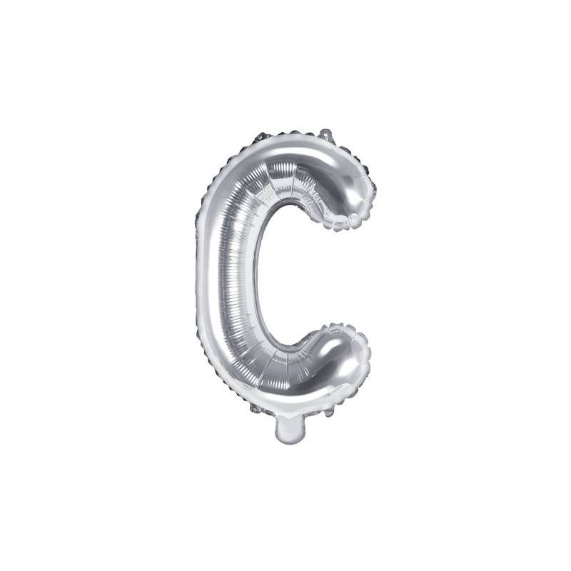 Ballon en aluminium lettre C 35cm argent