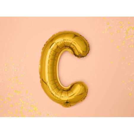 Ballon en aluminium lettre C 35cm doré