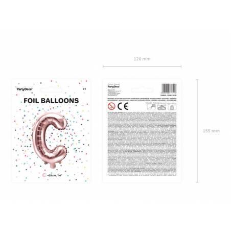 Ballon en aluminium lettre C 35cm or rose