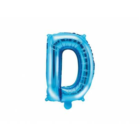 Ballon en aluminium lettre D 35cm bleu