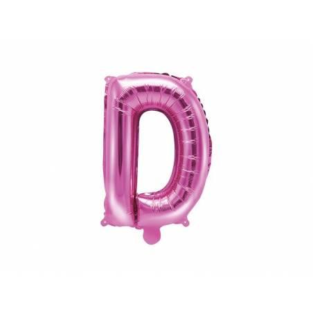Ballon en aluminium lettre D 35cm rose foncé