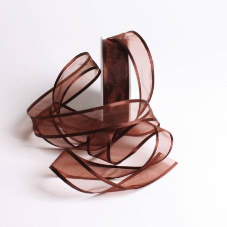Ruban voile bord satin 25 mm - Couleur chocolat