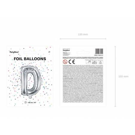 Ballon en aluminium lettre D 35cm argent
