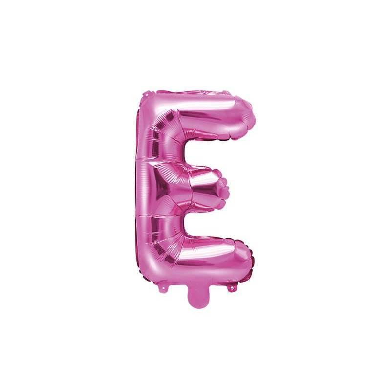 Ballon en aluminium lettre E 35cm rose foncé
