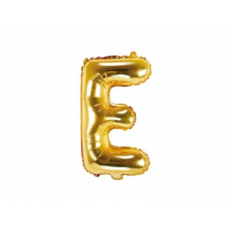 Ballon en aluminium lettre E 35cm doré