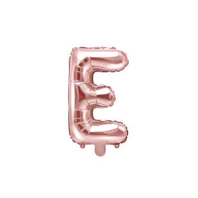 Ballon en aluminium lettre E 35cm or rose