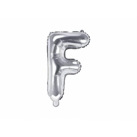 Ballon en aluminium lettre F 35cm argent