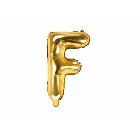 Ballon en aluminium lettre F 35cm doré