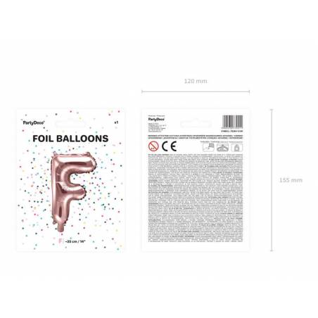 Ballon en aluminium lettre F 35cm or rose