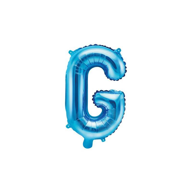Ballon en aluminium lettre G 35cm bleu