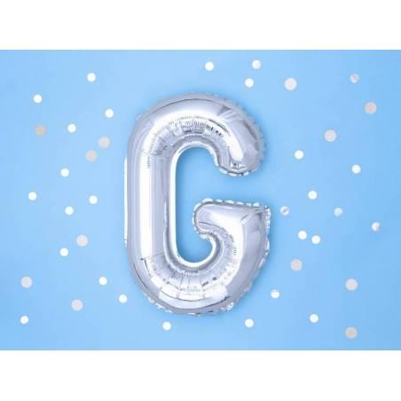 Ballon en aluminium lettre G 35cm argent