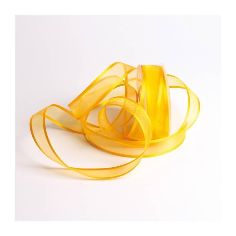 Ruban voile bord satin 25 mm - Couleur jaune foncé