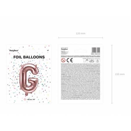 Ballon Feuille Lettre G 35cm or rose