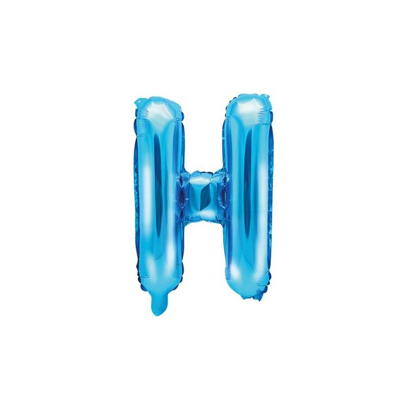 Ballon en aluminium lettre H 35cm bleu