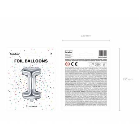 Ballon en aluminium lettre I 35cm argent