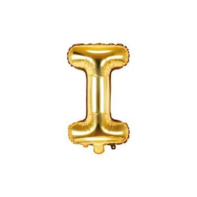 Ballon Feuille Lettre I 35cm doré