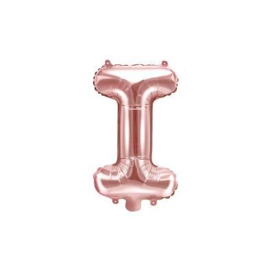 Ballon en aluminium lettre I 35cm or rose