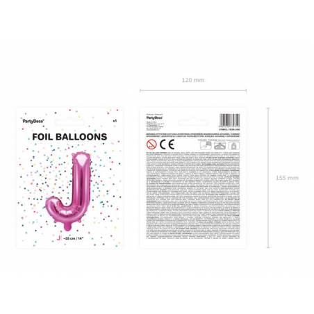 Ballon en aluminium lettre J 35cm rose foncé