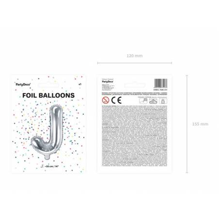 Ballon en aluminium lettre J 35cm argent