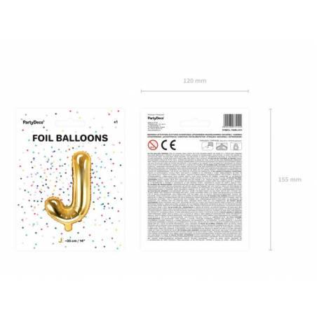 Ballon Feuille Lettre J 35cm doré