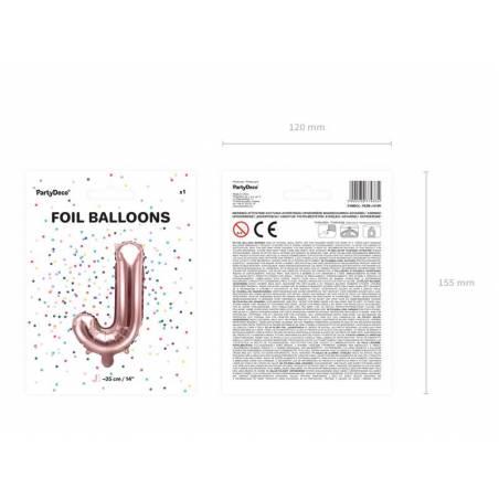 Ballon en aluminium lettre J 35cm or rose