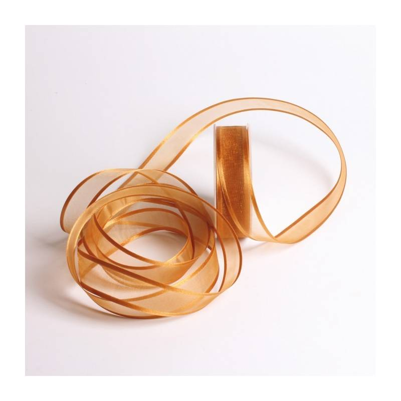 Ruban voile bord satin 25 mm - Couleur or