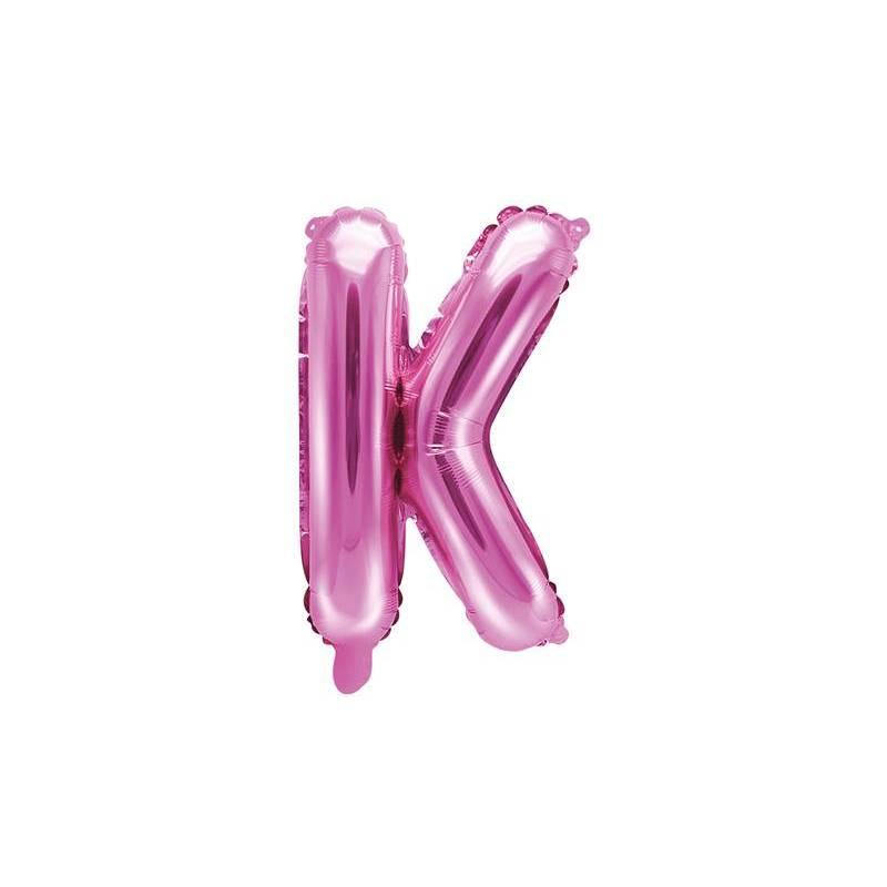 Ballon en aluminium lettre K 35cm rose foncé