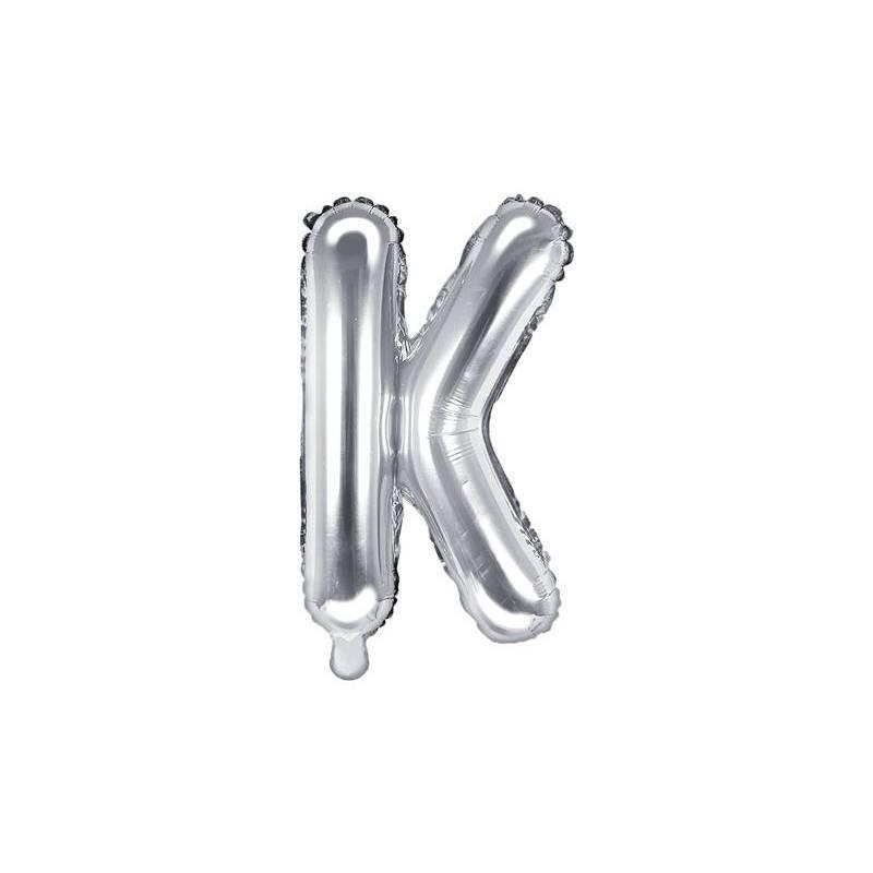 Ballon en aluminium lettre K 35cm argent