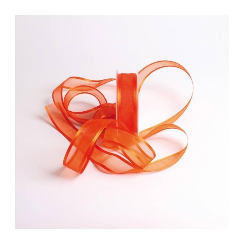 Ruban voile bord satin 25 mm - Couleur orange