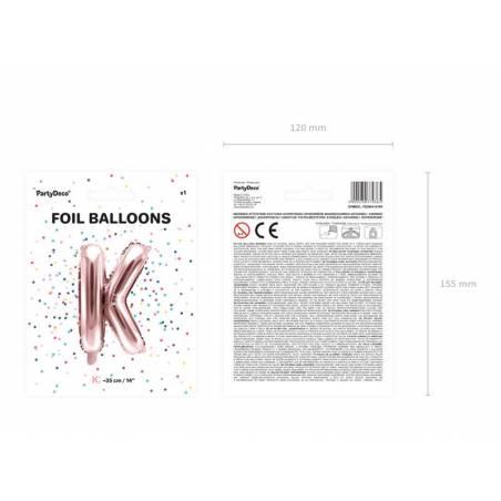 Ballon en aluminium lettre K 35cm or rose