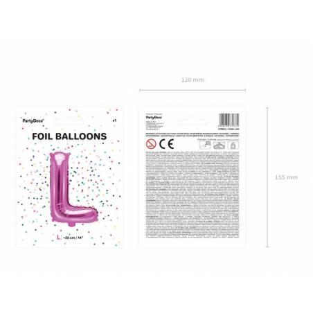 Ballon en aluminium lettre L 35cm rose foncé