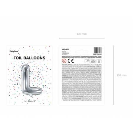 Ballon en aluminium lettre L 35cm argent