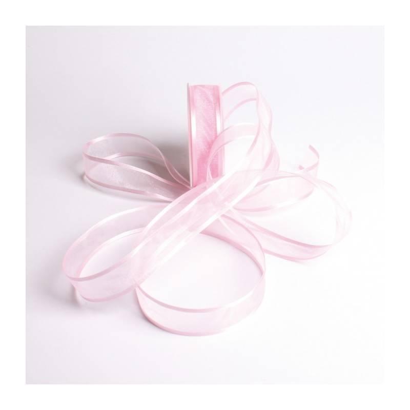 Ruban voile bord satin 25 mm - Couleur rose