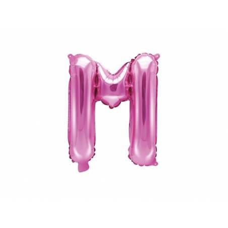 Ballon en aluminium lettre M 35cm rose foncé