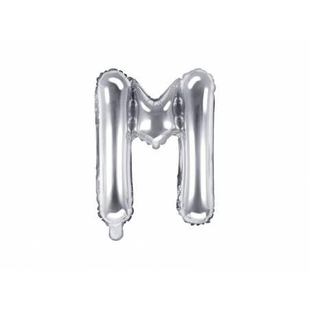 Ballon en aluminium lettre M 35cm argent