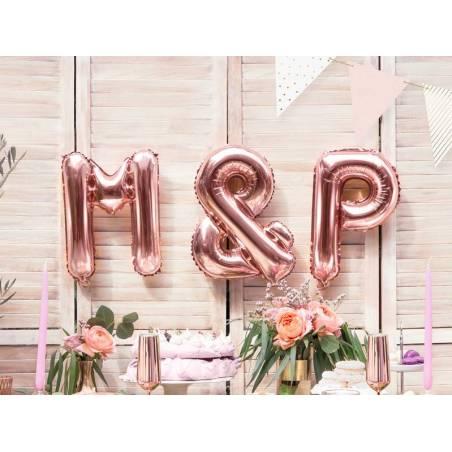 Lettre de ballon en aluminium lettre M 35cm or rose