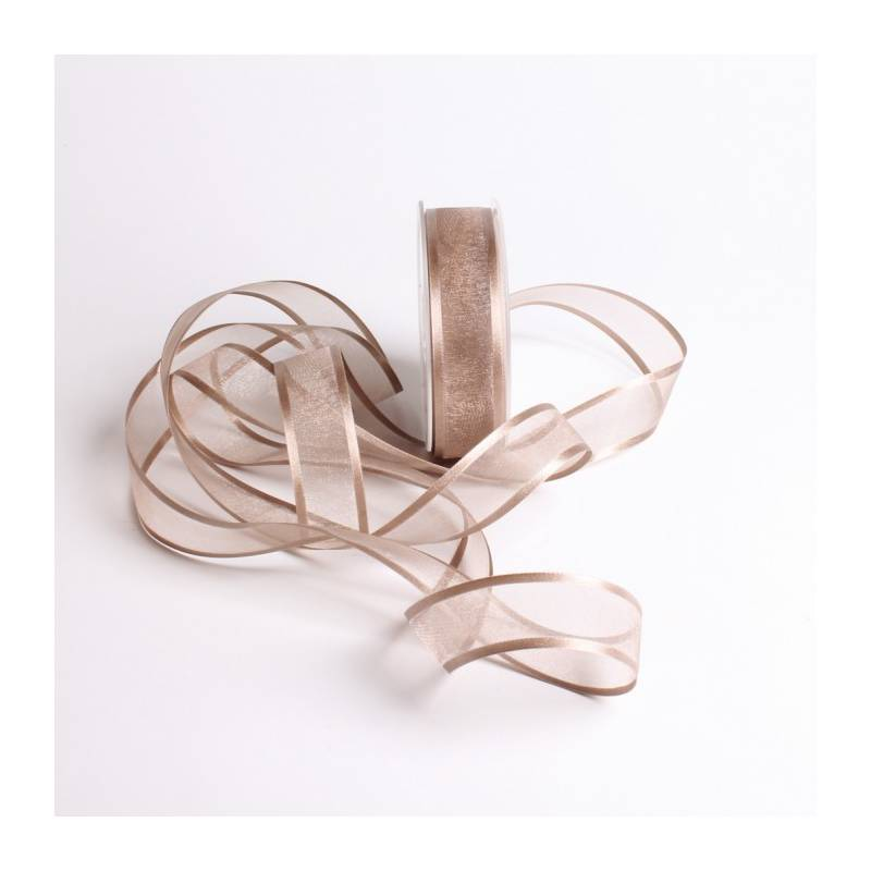 Ruban voile bord satin 25 mm - Couleur taupe
