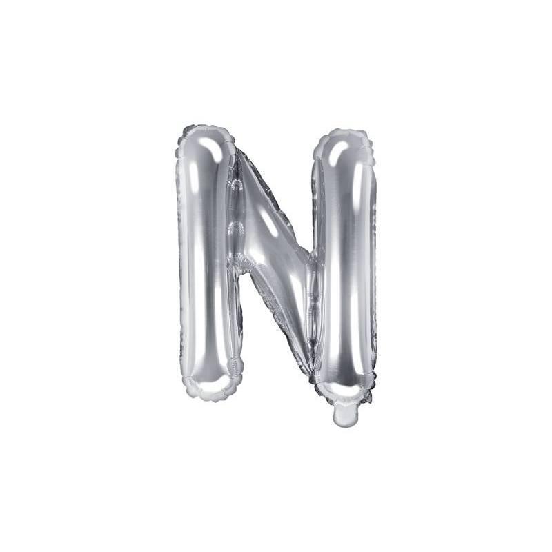 Lettre de ballon en aluminium N 35cm argent