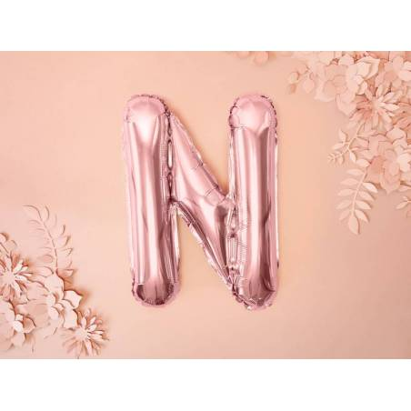 Lettre de ballon en aluminium N 35cm or rose