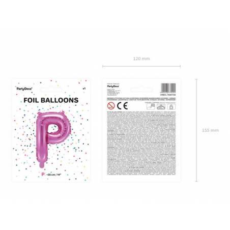 Ballon en aluminium lettre P 35cm rose foncé