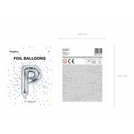Ballon en aluminium lettre P 35cm argent 1 pièce