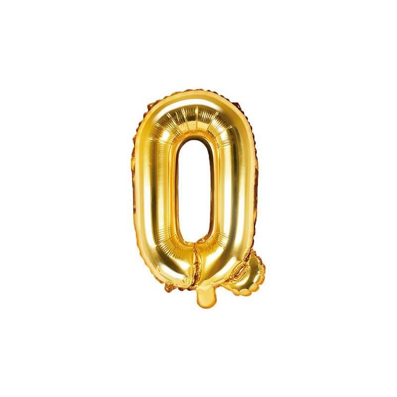 Ballon Feuille Lettre Q 35cm doré