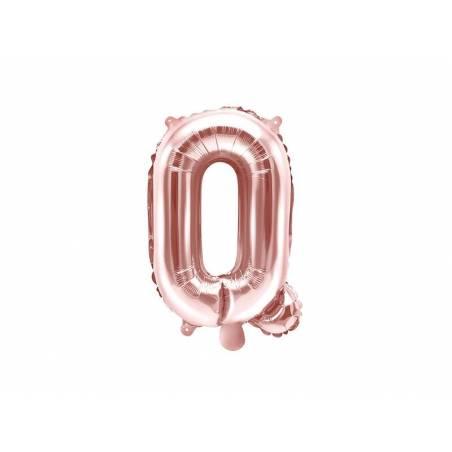 Ballon Feuille Lettre Q 35cm or rose