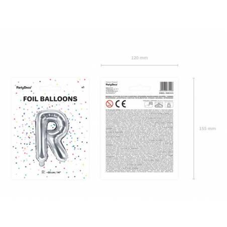 Lettre de ballon en aluminium lettre R 35cm argent